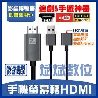 【台灣現貨】手機連接電視 iPhone 蘋果 安卓 Type-C 轉HDMI 高清 1080P 視頻線 同屏線 電視棒