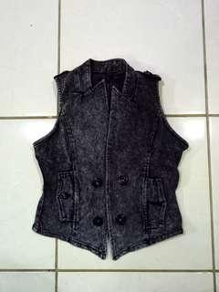 Pre❤ Black Jeans Vest / Rompi Jeans Hitam