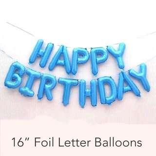HAPPY BIRTHDAY Letter Balloon Foil Blue