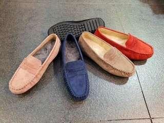 韓國 麂皮秋冬內毛豆豆鞋