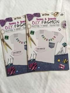 DIY fashion glitter tshirt transfer 2packs
