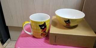 聖安娜黑貓杯子及飯碗-套