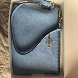 NEW with tags Baby Blue Coach Leather Wristlet/Wallet