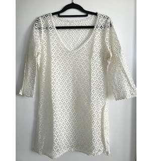 White Boho Crochet Dress size S