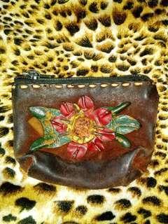 Vintage Handmade coin bag all leather