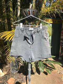 Rollas black washed out denim distressed short high waisted