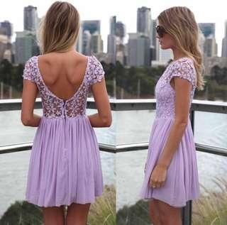 Crochet Lace Open Back Dress - Purple Lilac/Lavender (Medium / Large) Mint Condition
