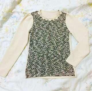 🚚 (自出價) eyescream小花領長袖上衣 便宜賣 #十一月女裝半價