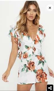 White floral tie back playsuit BNWT