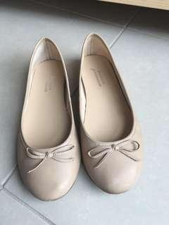 Nude Leather Flats 8
