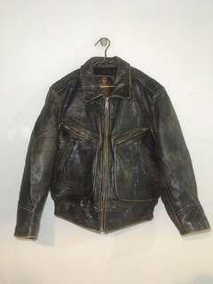Jaket Kulit Asli CHEVIGNON Leather Jacket Motorcycle Bikers