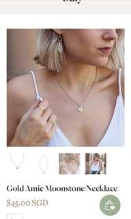 By Invite Only Gold Amie Moonstone Necklace