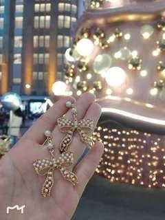 🚚 珍珠鏤空蝴蝶結 千鳥紋 耳環 耳針 聖誕節禮物 緞帶