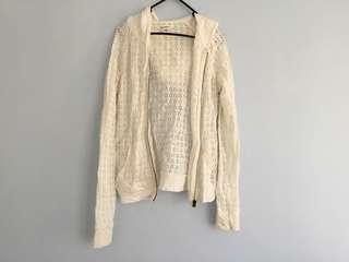White crochet detail hoodie