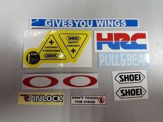 Stickers visor helm KYT, AGV, SHOEI, ARAI
