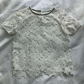 Gingersnaps White Lace Top (size 12)