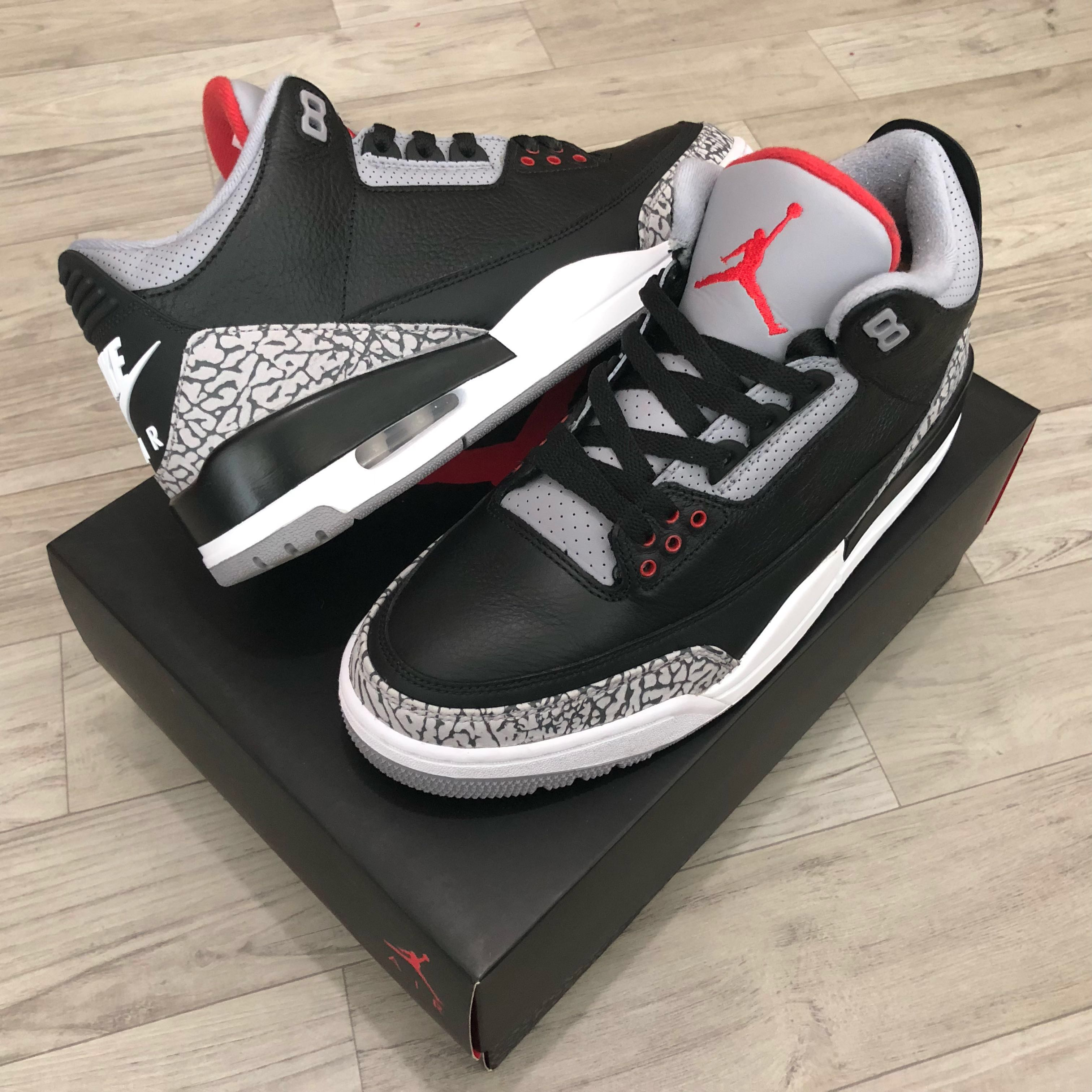 the best attitude df745 cc623 100% Authentic Nike Air Jordan III 3 Black Cement 2018 Retro size 9.5 US,  Men s Fashion, Footwear, Sneakers on Carousell