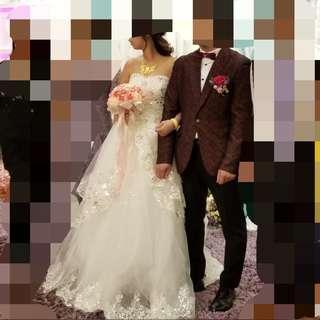 婚後物資 刺繡 水鑽 閃石 蕾絲lace 齊地 綁帶 婚紗