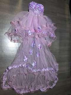 婚後物資 紫色 花花 紗網 晚裝 婚紗 小拖尾 Pre Wedding