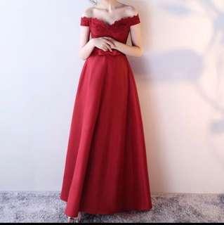 婚後物資 紅色 晚裝 敬酒裙 綁帶款