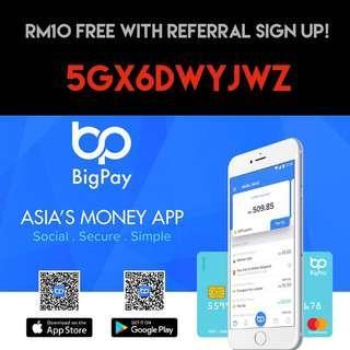 BigPay Debit MasterCard. RM10 free credit!