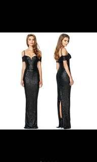 [READY STOCK] Black Off Shoulder Sequin Long Dress