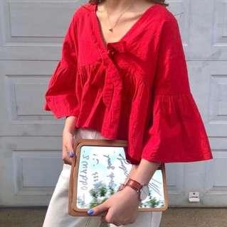 🚚 [$8 MAILED] Red V Neck Bell Sleeve Top