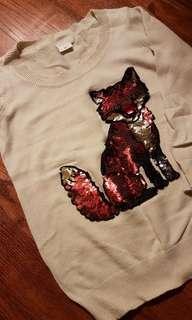 UO fox sequins 3/4 sleeve