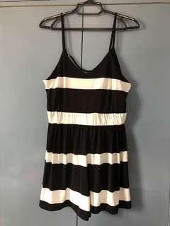 Black and white stripes romper