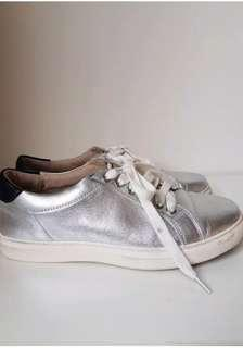Marcus B silver leather sneakers