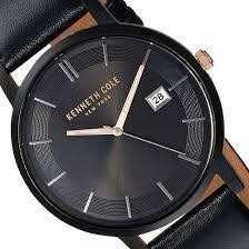 Men's Kenneth Cole Date Display Black Dial Black Leather Strap Watch KC15202004