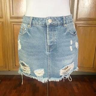 REPRICED! Cotton On Distressed Denim Skirt