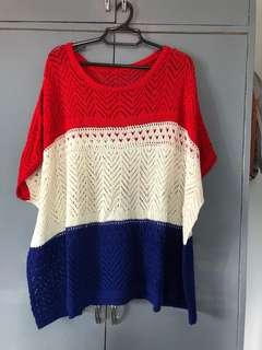 Oversized tri-colored top