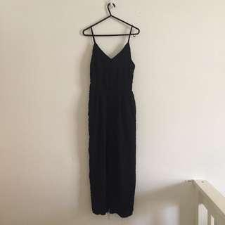 Black Loose Overalls / One Piece with Zipper