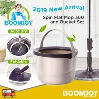 ✔FREE DELIVERY (PROMO): Boomjoy® M10 Spin Mop New Magic Spin Flat Mop 360 and Bucket Set