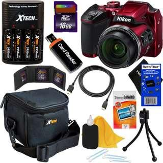 Nikon COOLPIX B500 16MP Wi-Fi Digital Camera (Red) + Batts. & Charger + 16GB Kit