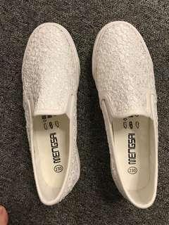 女鞋 白色 平底 蕾絲