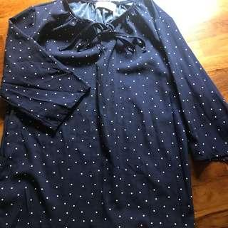 korean ulzzang polka dot blouse top