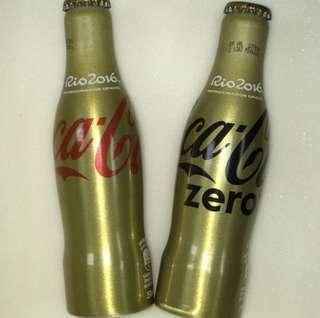 Coca-Cola 巴西里約奧運 金色鋁樽一對(購於巴西里約,未開封)