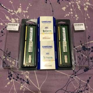 價錢為兩條價 Samsung DDR3 1333Mhz PC3-10600 Desktop RAM 2G x 2 = 4GB Microworks代理