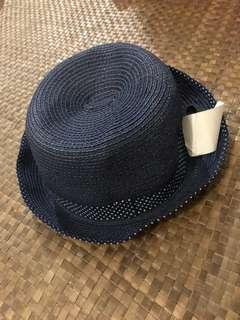 H&M Navy Blue Fedora Hat with flaw