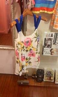 韓國碎花吊帶 背心 日本衫 長短連身裙 二手