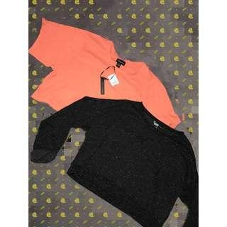 Coral and Black/Gray crop tops