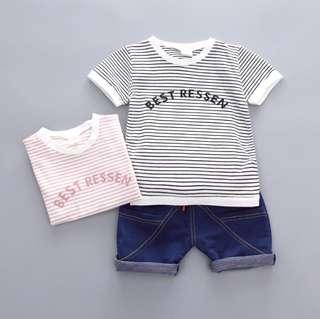 🚚 🌟PM for price🌟 🍀Baby Boy Stripes Short Sleeves Tee+Shorts 2pcs Set🍀