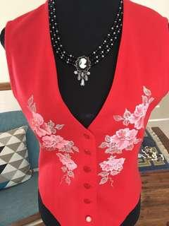 Red floral vest bnwot