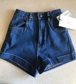 Cotton On high waisted denim shorts size 6