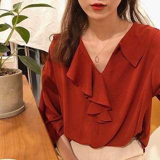 超襯膚顯白 荷葉邊襯衫#十一月女裝半價