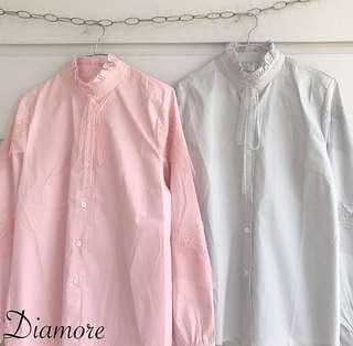Diamore top PINK | kemeja diamore | pink shirt | korean style shirt | pink blouse
