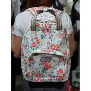 Cath Kidston Matt Oilcloth Multi Pocket Backpack Rucksack Floral Print - Beige