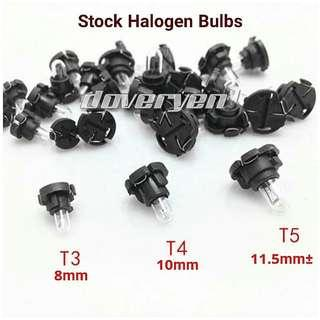 T3 T4 T5 Flat Base Halogen Bulb          Usage : Aircond / Climate Switch Lights Speedometer Lights Gear Shift Lights Emitting Color 4.3k Warm White                                          T3 8mm / T4 10mm / T5 11.5mm±